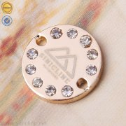 Sinicline laser logo metal tag with rhinestones ML246
