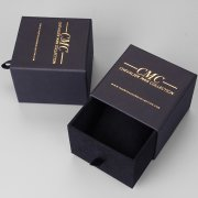 Gold foil stamped logo paper box BX173