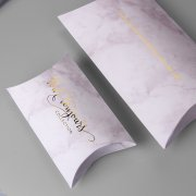 Textured paper pillow boxes with custom logo BX174